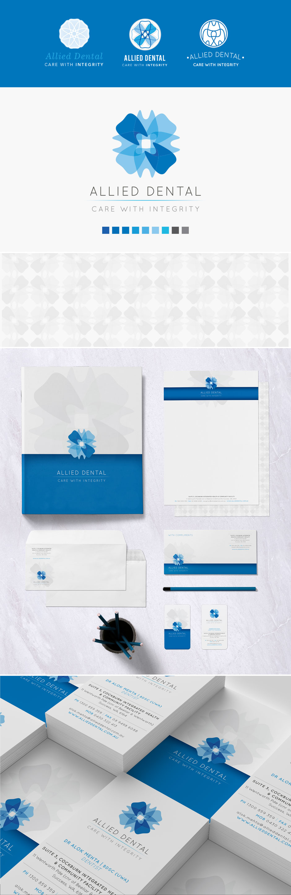 Allied Dental | Logo and Stationary | Tickled Pink Confetti | by Veronika Kahrmadji