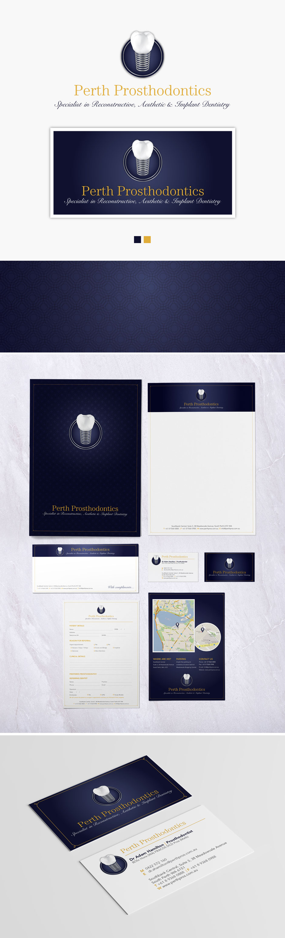 Perth Prosthodontics | Logo, Stationary, Branding | Tickled Pink Confetti | by Veronika Kahrmadji