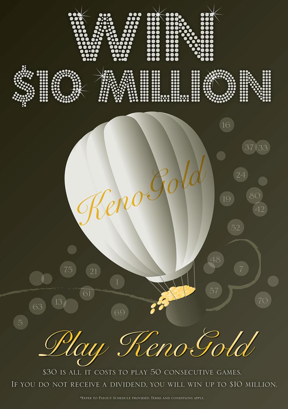 Keno Gold Poster | Illustration | Graphic Design | www.tickledpinkconfetti.com.au | by Veronika Kahrmadji