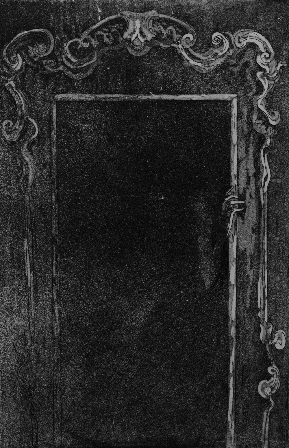 Waiting II,  2015, etching and aqua tint on paper, 6x9''