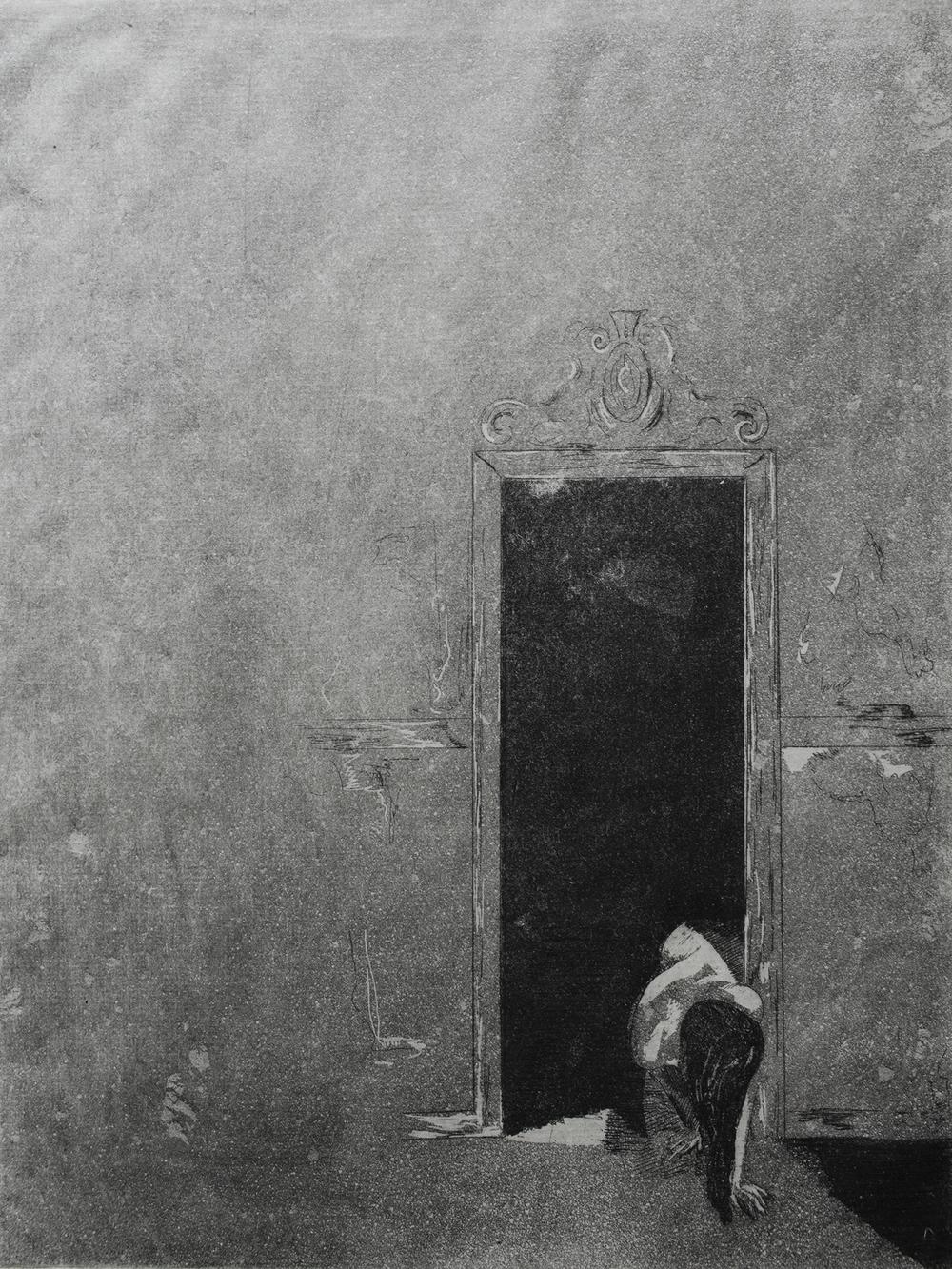 Hide and Seek,  2015, etching and aqua tint on Kitakata paper, 9x12''