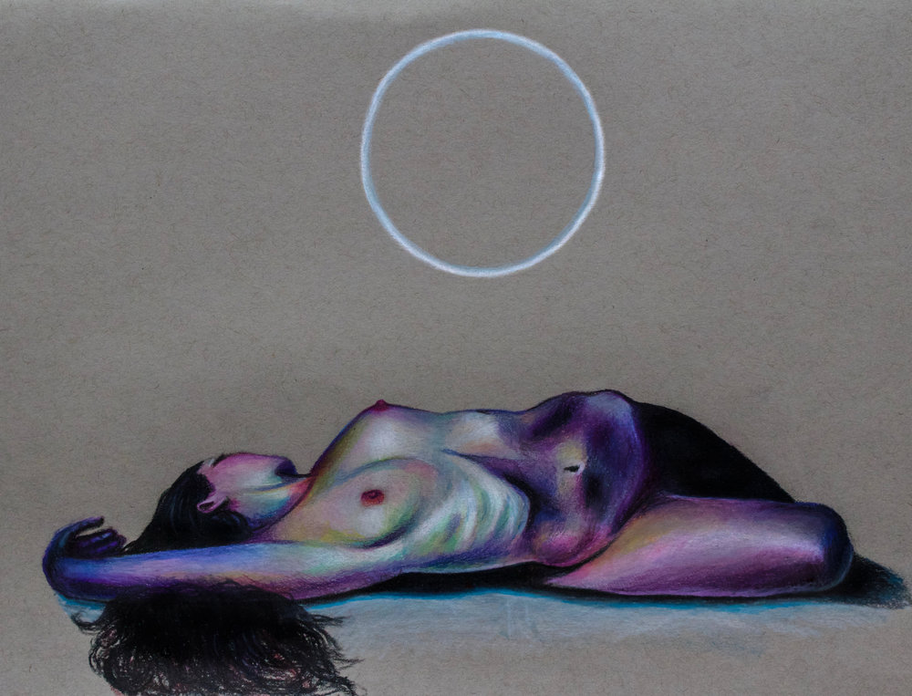 """Moon Nymph I,  2017, colored pencils on toned paper, 9x12"""""""