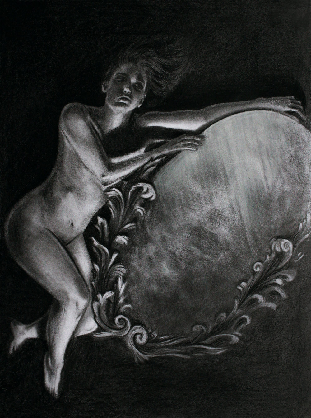 """Of Ash and Moonlight,  2017, graphite and charcoal on paper, 9x12"""""""
