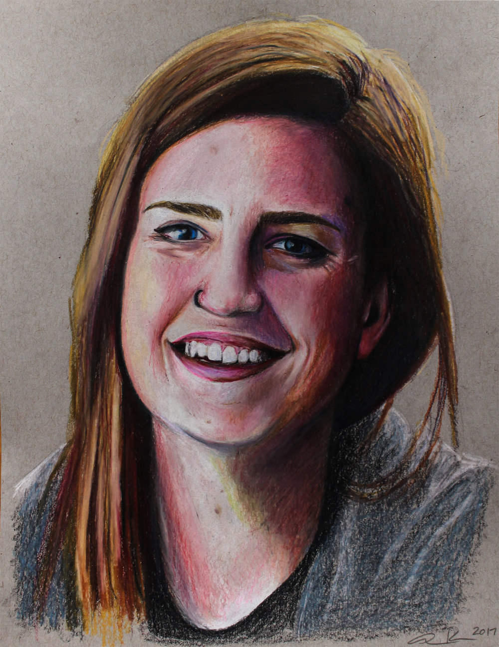 """Kaitlyn, 2017, colored pencils on toned paper, 8.5x11"""""""