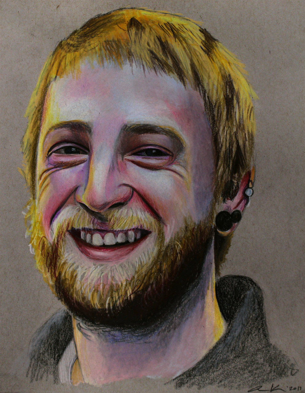 """Matt,2017, colored pencils on toned paper, 8.5x11"""""""