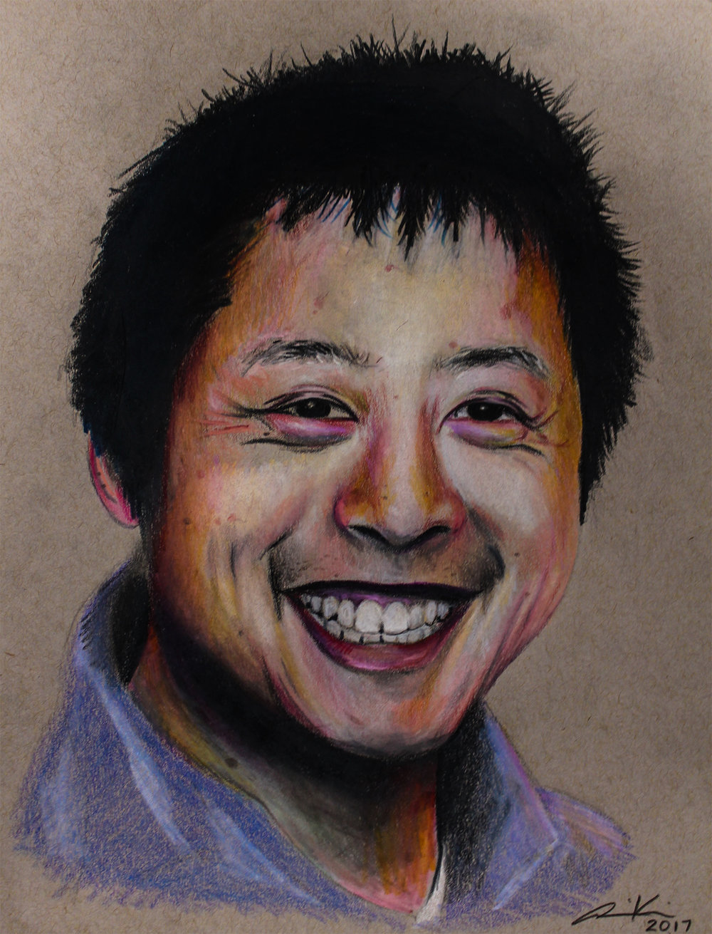 """John,2017, colored pencils on toned paper, 8.5x11"""""""
