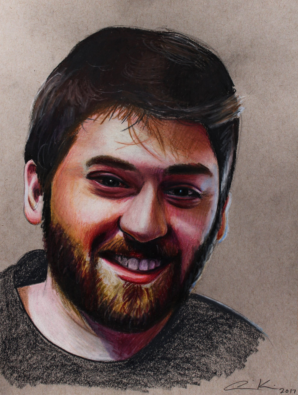 """Jeremy,2017, colored pencils on toned paper, 8.5x11"""""""