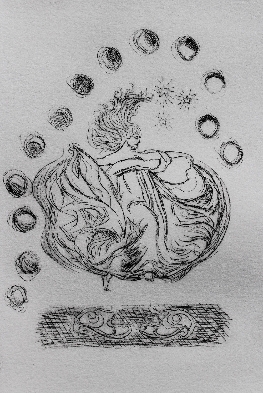 13 moons, 2018, drypoint on BFK paper, 4x6""