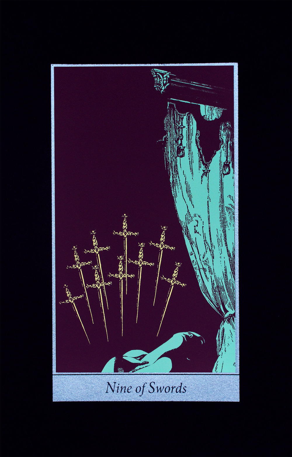 Nine of Swords, 2018, screenprint on black Strathmore paper, 8x12""