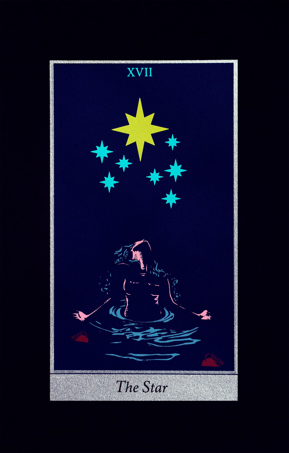The Star, 2018, screenprint on black Strathmore paper, 8x12""