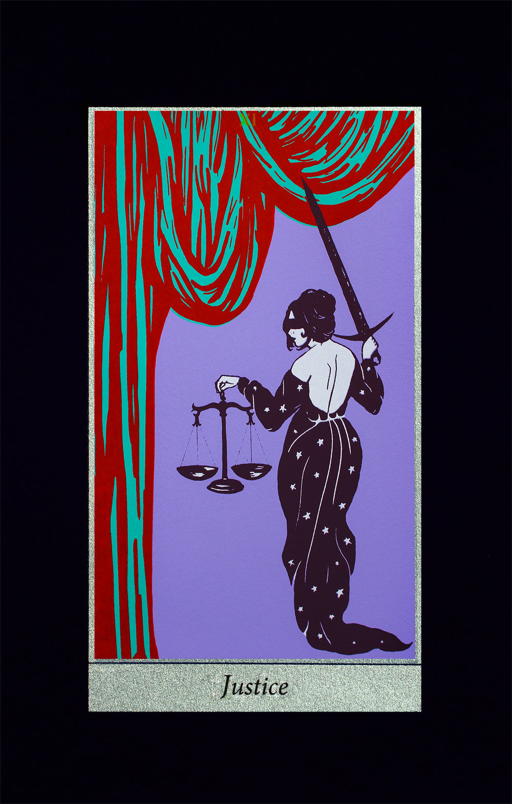 Justice, 2018, screenprint on black Strathmore paper, 8x12""