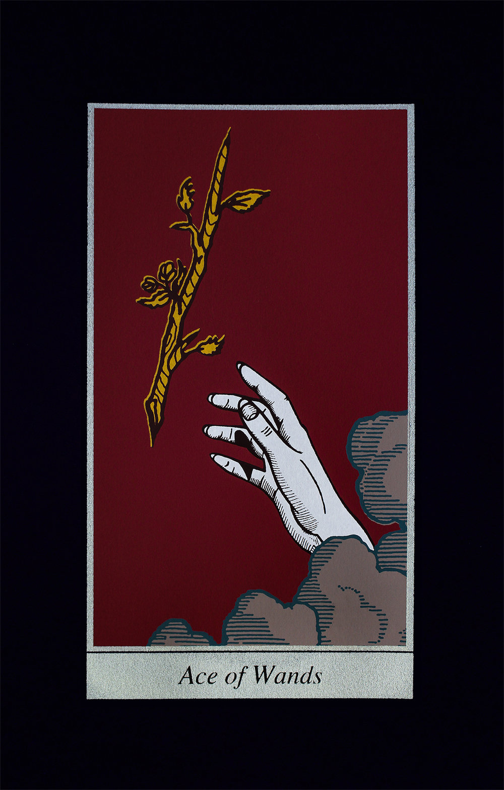 Ace of Wands, 2018, screenprint on black Strathmore paper, 8x12""