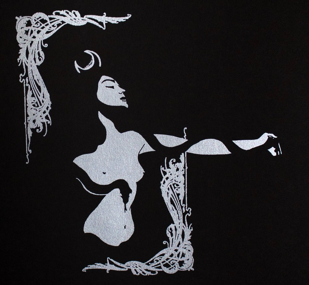 Lilith, 2017, silver ink screenprint on black Strathmore paper, 12x12""