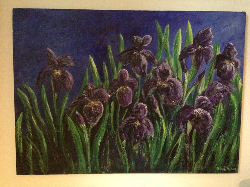 terrible iphone picture of the Irises, but then again, it does now hang in a basement playroom without windows