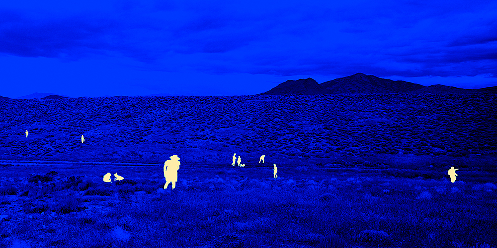 A group of artists and academics at the OXCART Crash Site, near Wendover, UT, August 2012 by John Brinton Hogan