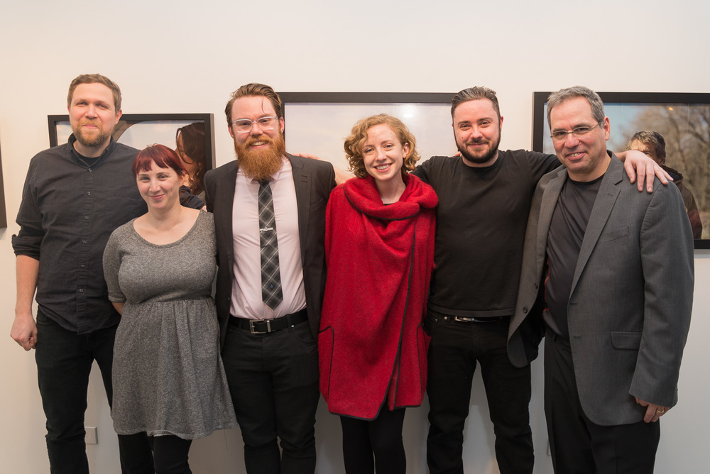 Alibi Fine Art Director Lisa Janes with the members of Crusade For Art Chicago at the opening reception for All that is Solid. L-R Joseph Wilcox, Barbara Diener, Matthew Crowther, Lisa Janes, Garrett Baumer, and Jonathan Lurie
