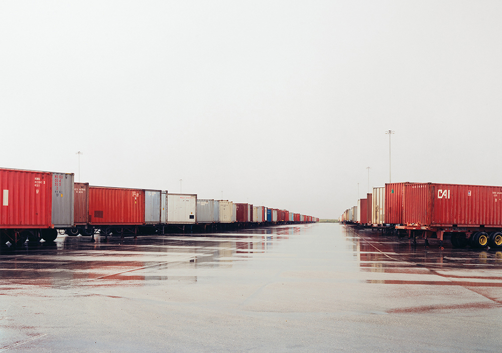 Untitled (Red Containers, Wet Ground), Fort Worth, Texas, 2000