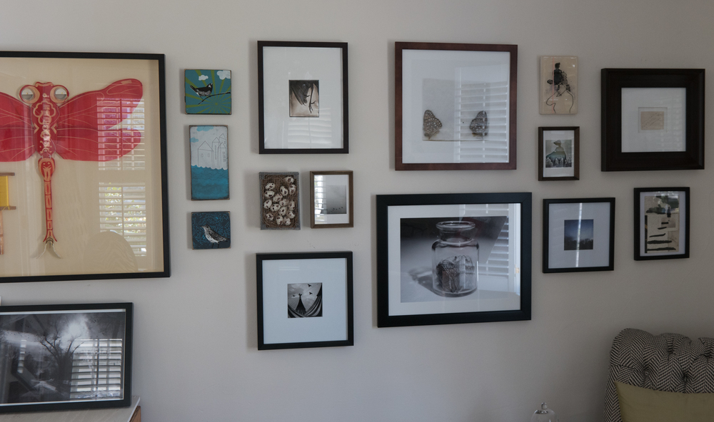 an recent image of a wall in my bird room (rearranged constantly),   featuring Joshua Meier , Rachel Chabot, Tristan Spinski, Christian Bradley West, Angela Bacon Kidwell (x2), Kathleen Robbins, John Bohannon,   not pictured: Keith Carter, Randi Lynn Beach