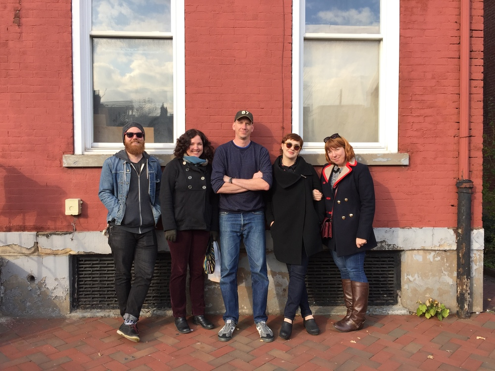 Matthew Crowther (Chicago Chapter Director), Ivette Spradlin (future Pittsburgh artist member??), Matthew Conboy (Director of Start With Art, Local Chapter Summit host), Liz Arenberg (Brooklyn Chapter Co-Director), Sara Macel (Brooklyn Chapter Co-Director)