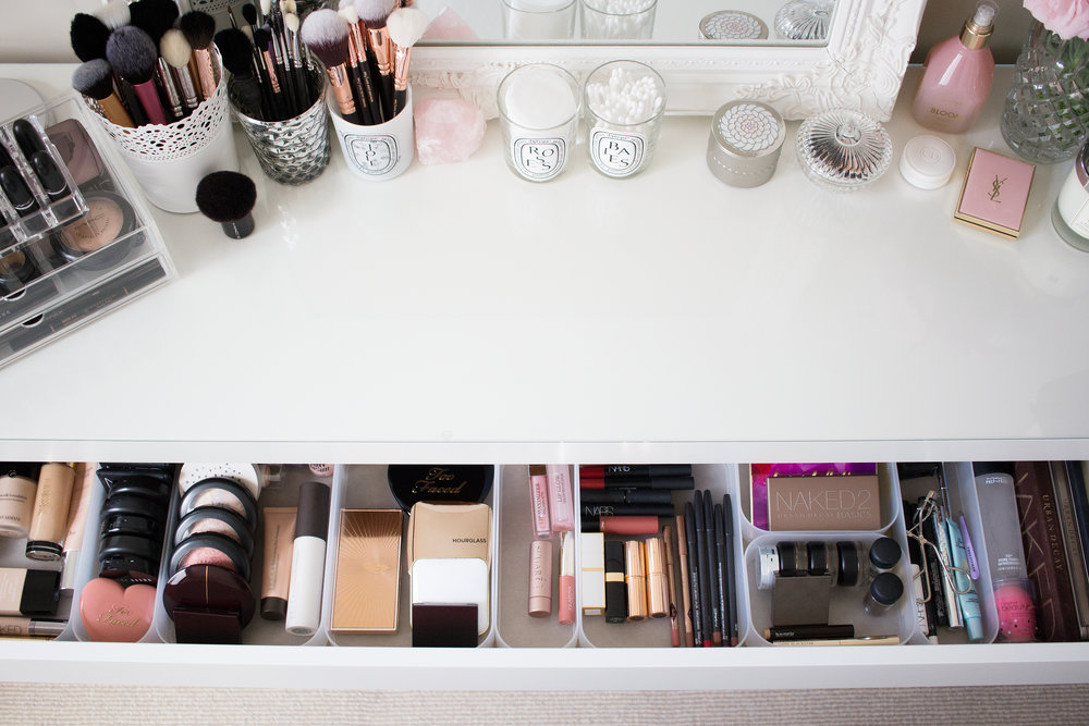 Starting on the left hand side, I have a silver double-sided mirror from Myer, then my Muji Acrylic Box 2 Drawers (you can read an old post about them here) ...