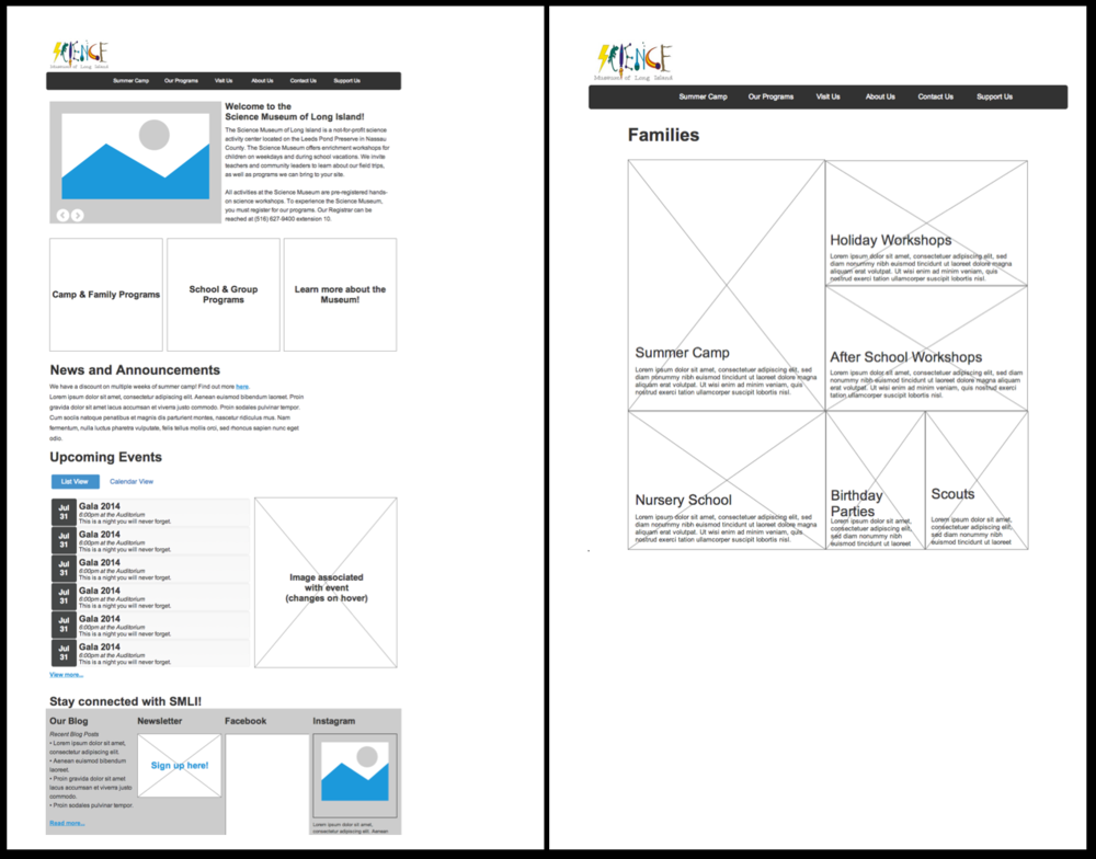 The home page wireframe, below-left, has an area for news, announcements, and upcoming events. The page on the right shows an overview of all the family-related programs.
