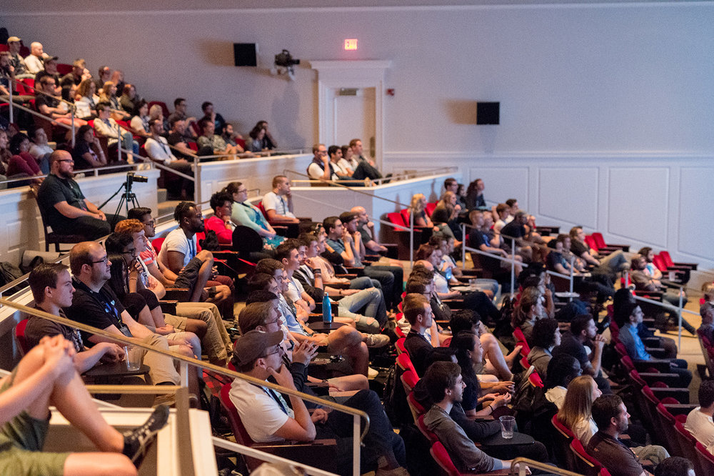 The 470-seat Abbot Center at the Darden campus at the Universtiy of Virginia created an exciting atmosphere to learn about new products.