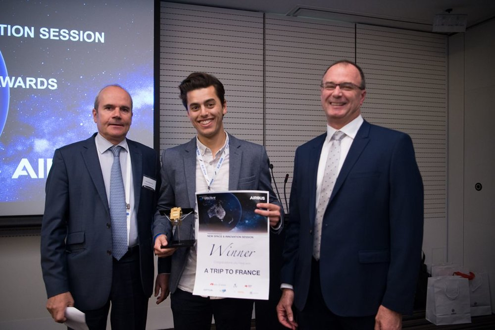 Arlula Founder & CEO Sabastian Chaoui with the French Ambassador to Australia, H.E. Christophe Penot (left) and Anthony Fraser, Managing Director Airbus Australia Pacific