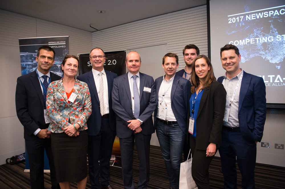 Organising team L-R: Valentin Merino Villeneuve (Head of Airbus D&S APac), Aude Vignelles (Delta-V volunteer), Tony Fraser (MD Airbus APac), His Excellency Mr Christophe Penot French Ambassador to Australia, Dr Tim Parsons (Delta-V volunteer & X-Lab Co-Founder & CEO), Jonah Williams (Airbus D&S), Mélanie Revellat (Airbus D&S), Will Crowe (Delta-V volunteer & HEO Robotics Co-Founder & CEO).