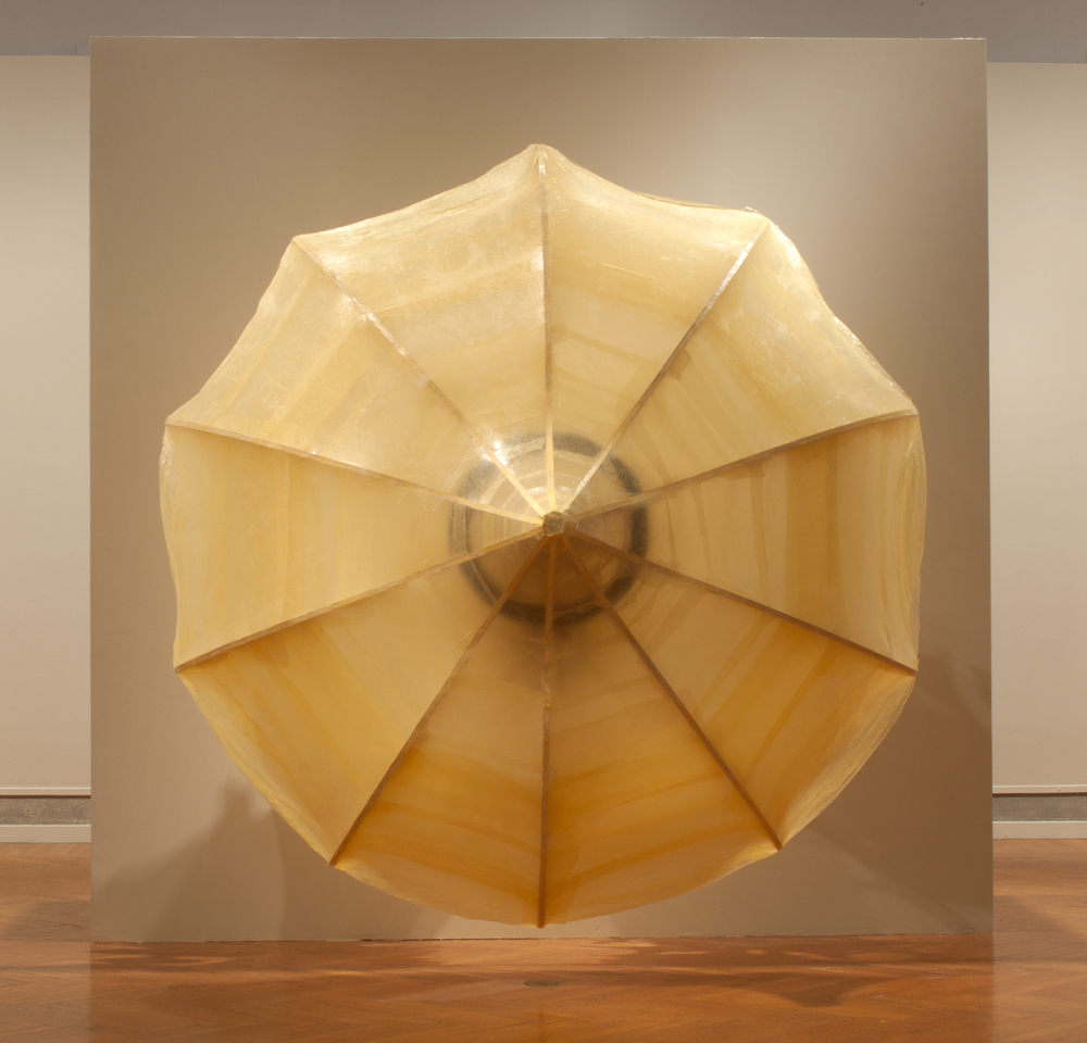 Untitled (yellow cones)   2011   Plywood, tracing paper, polyurethane, foam  96 x 96 x 72 in.