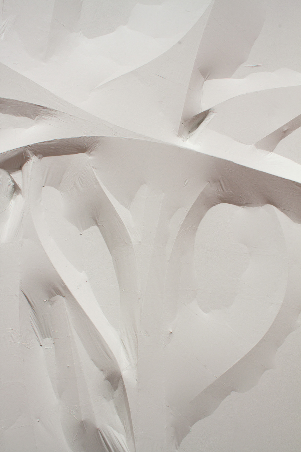 Detail  Untitled (white forms)   2011   Wood strips, tracing paper, latex paint  Approx. 144 x 216 x 3 in.