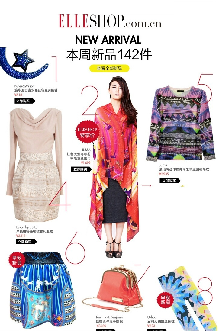 JUMA parrots scarf and JUMA Guatemaula print cashmere knit featured in Elle China