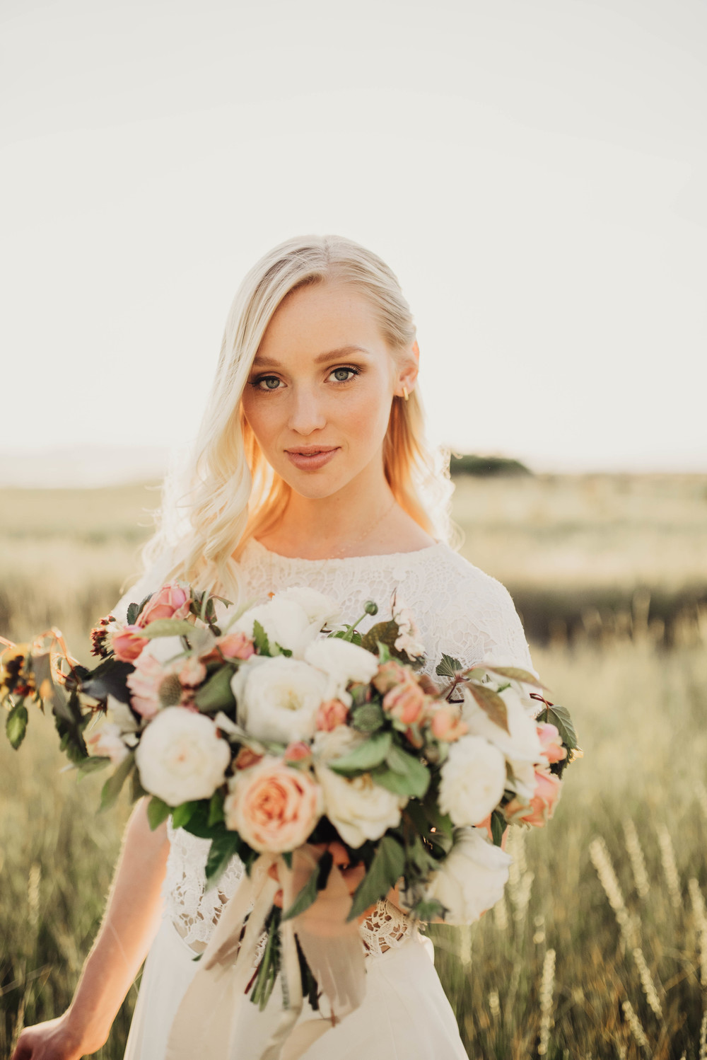 Glowing bride, large pink and white bouquet