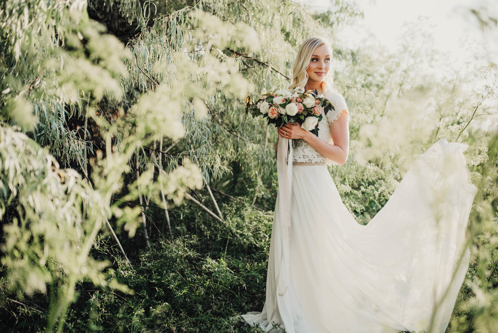 Flowing lace wedding dress bridals