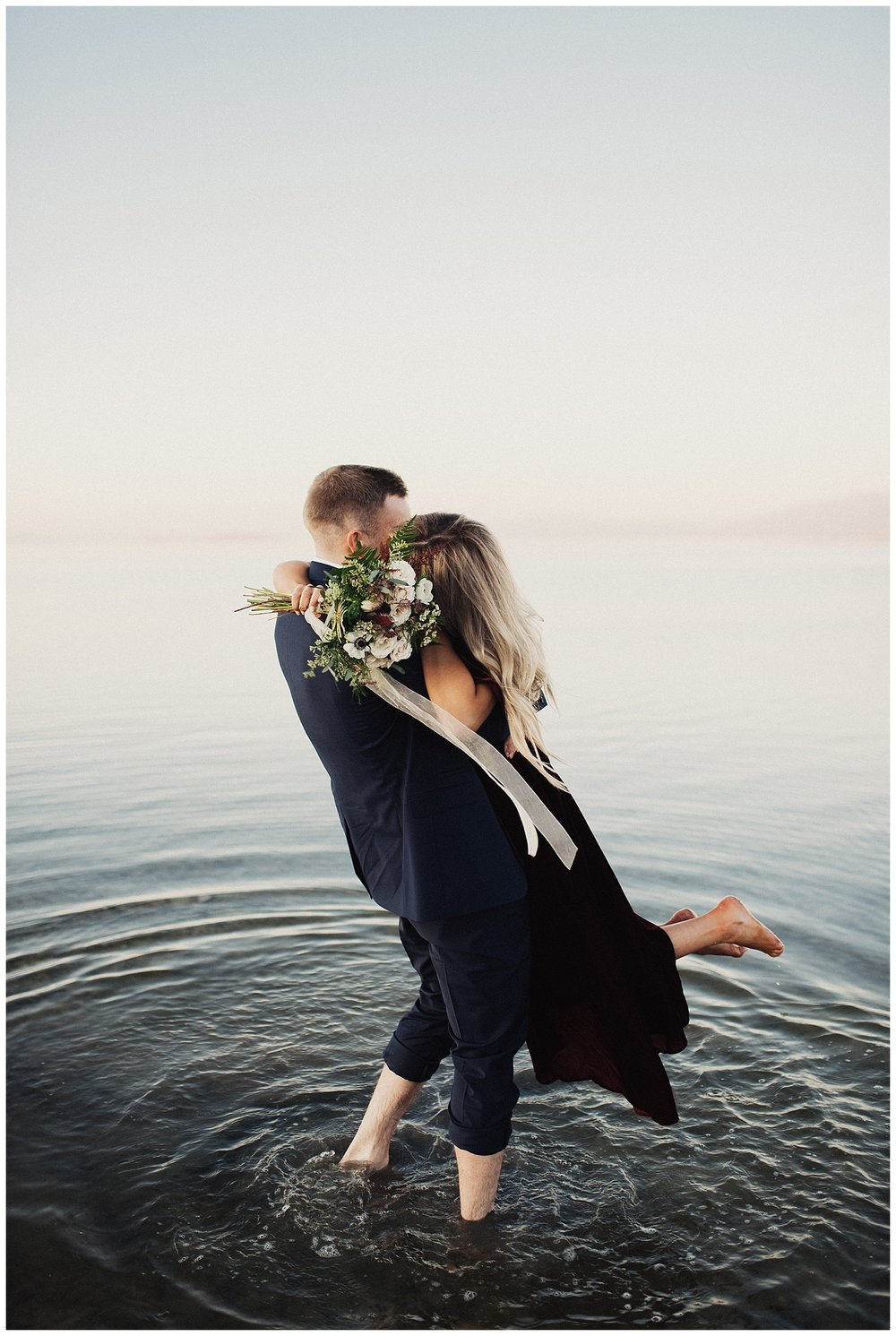 Antelope Island Engagement Session at Sunset