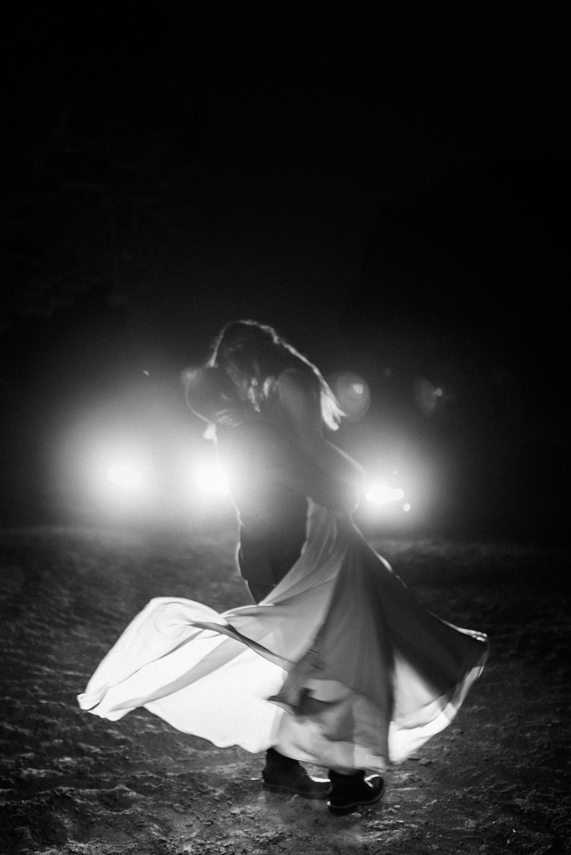 Car headlight wedding photos