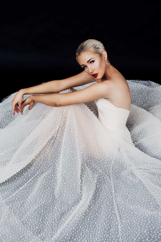 Jean and Jewel Pearl Studded Wedding dress