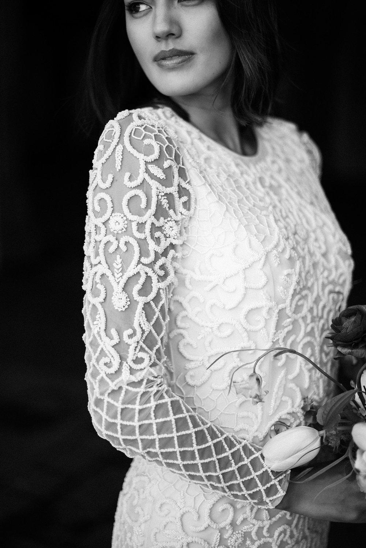 Long Sleeve Beaded Wedding Dress