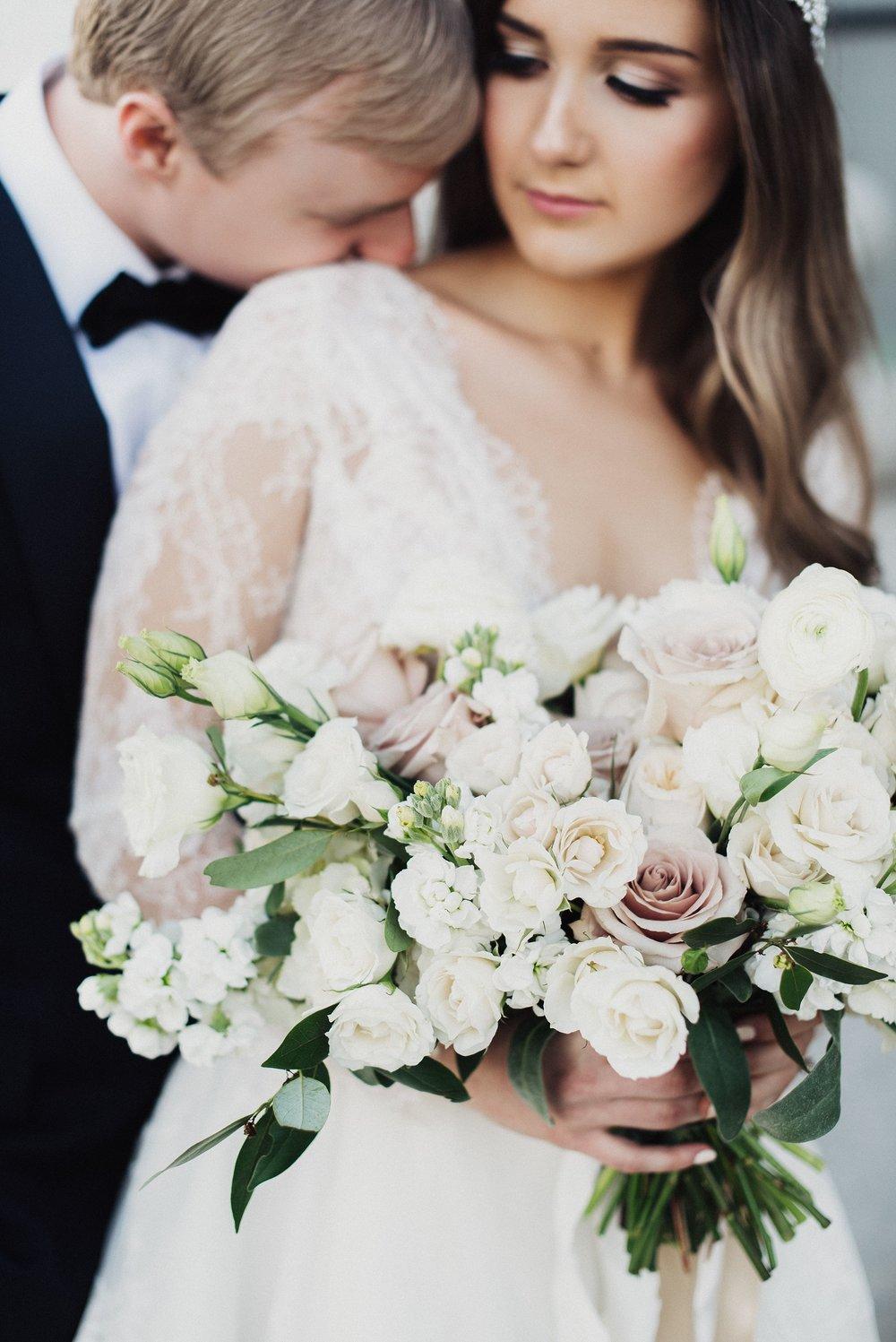 All white wedding details