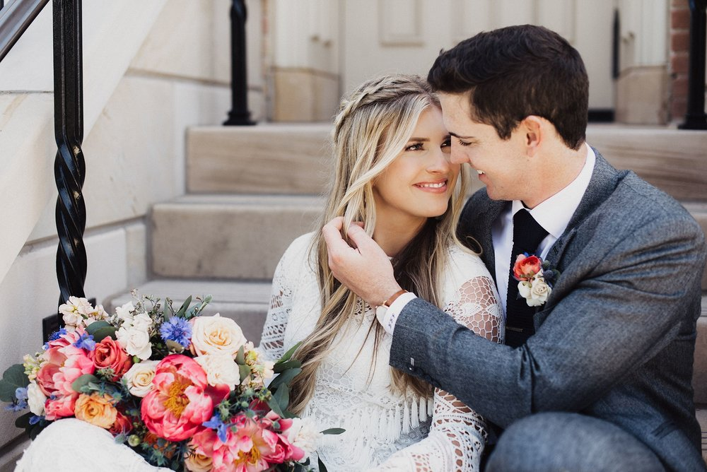 Boho Bride Provo Temple Wedding