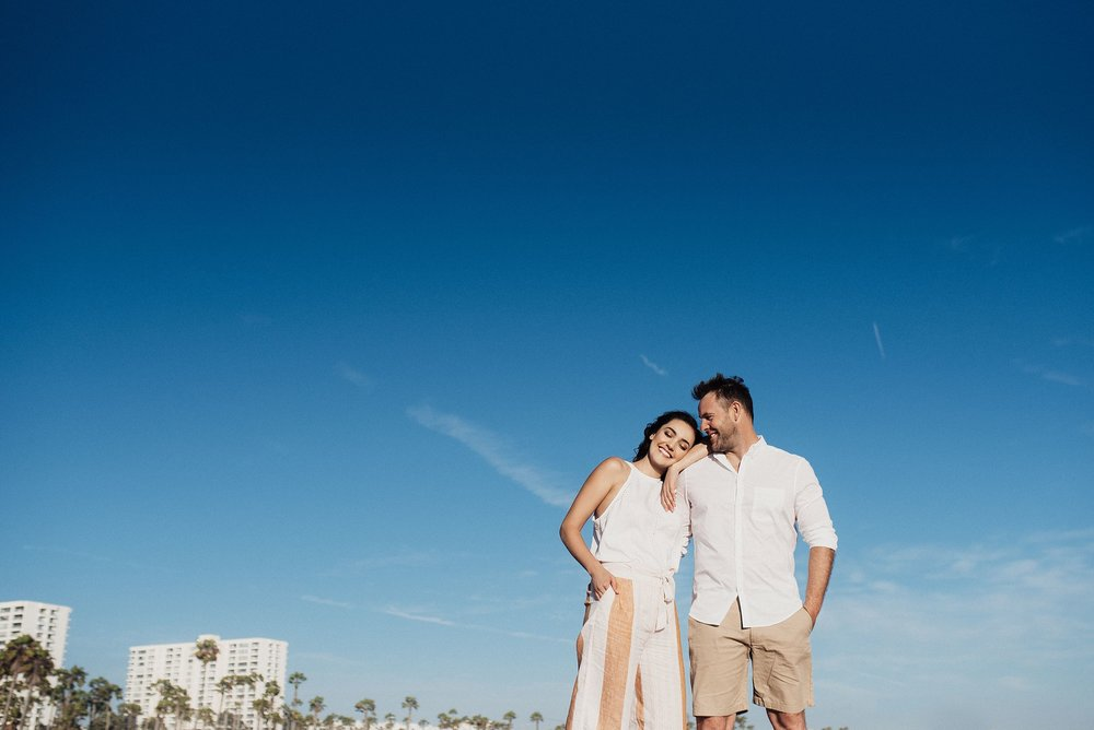 beach engagement session in santa monica