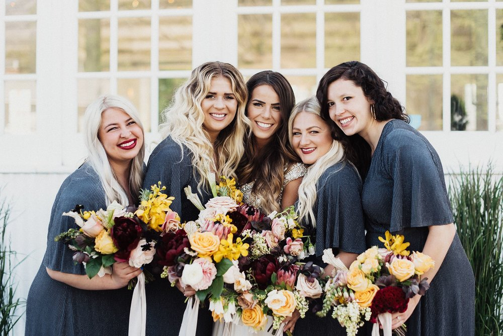 bridesmaids at white shanty wedding