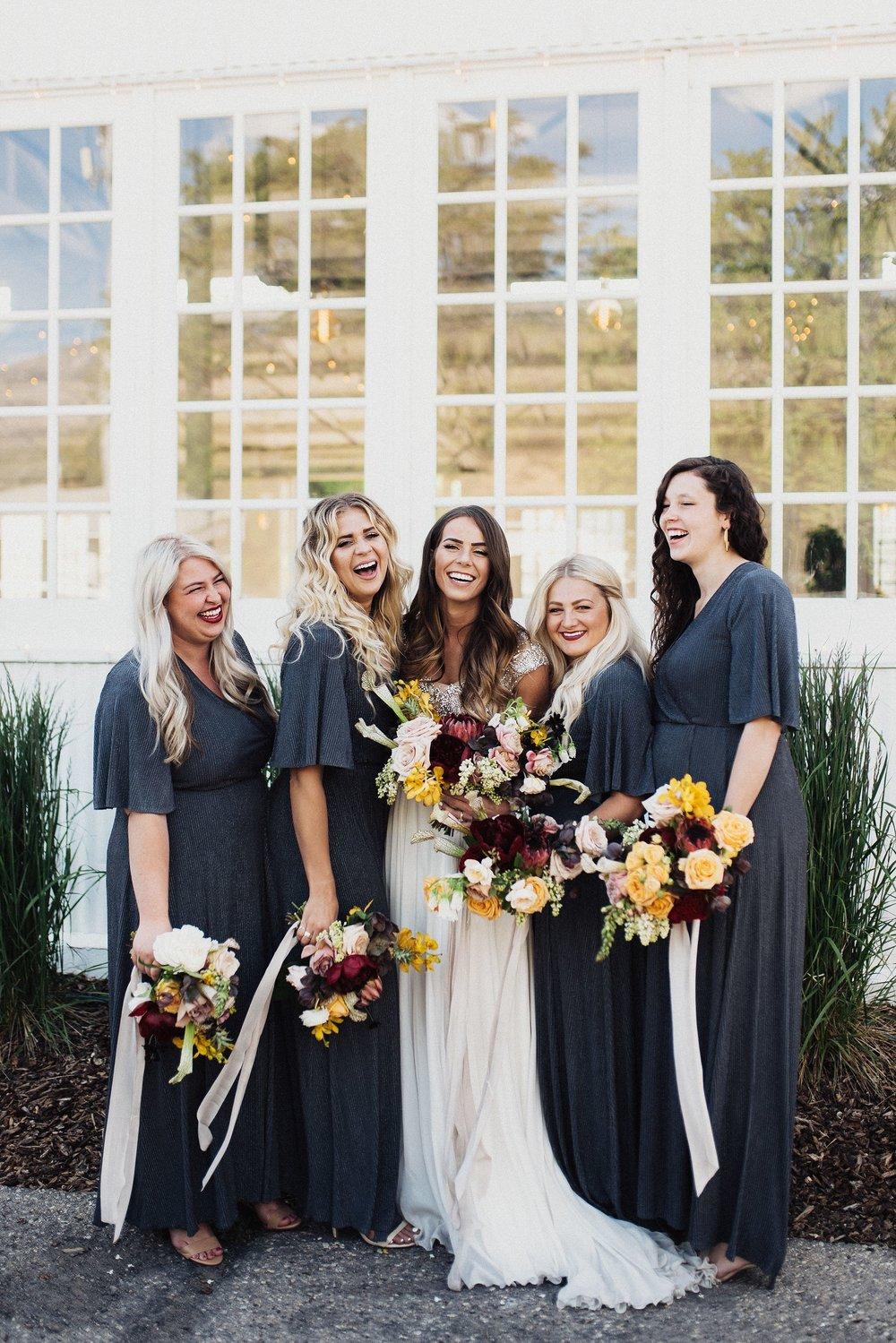 grey bridesmaid dress inspiration