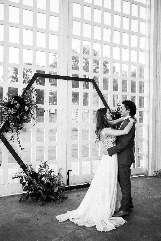 floral hexagon wedding installation