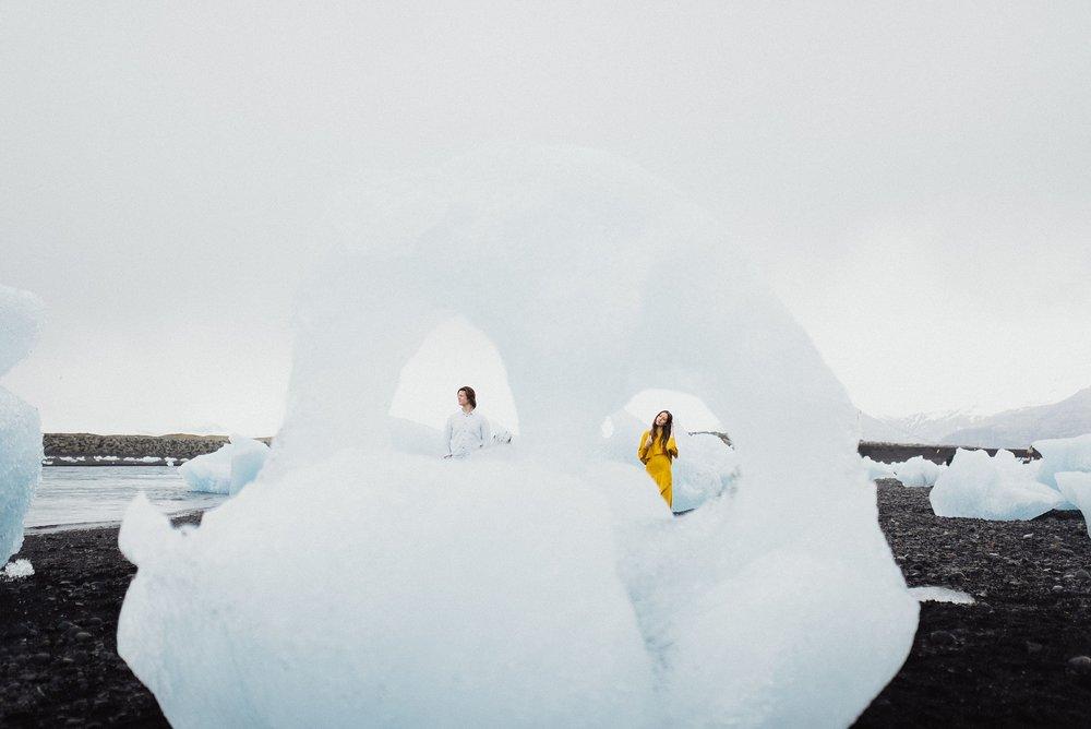 iceland engagement photos at diamond beach