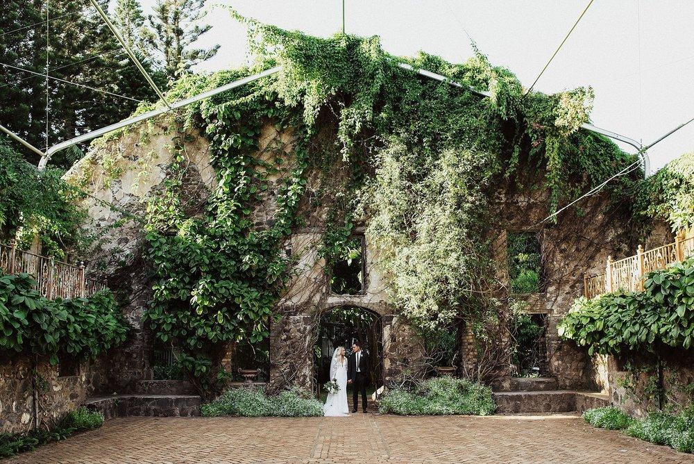 bride and groom at haiku mill wedding