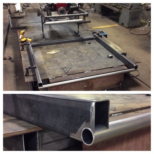 "Here's the beginning of the main frame structure. 2""x4"" 0.120"" frame rails and 1.625"" 0.120""Dom. We used the dom on the leading edge as a radius into the step pan and the firewall will sit directly above it. #300mphotbust #firebird  #pressfitnotching"
