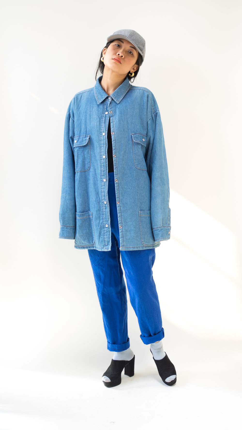 Lined Denim Button Down Shirt or Jacket Size 14/16 (Lrg, Womens)/(Sm/Med, Unisex) $40 SOLD