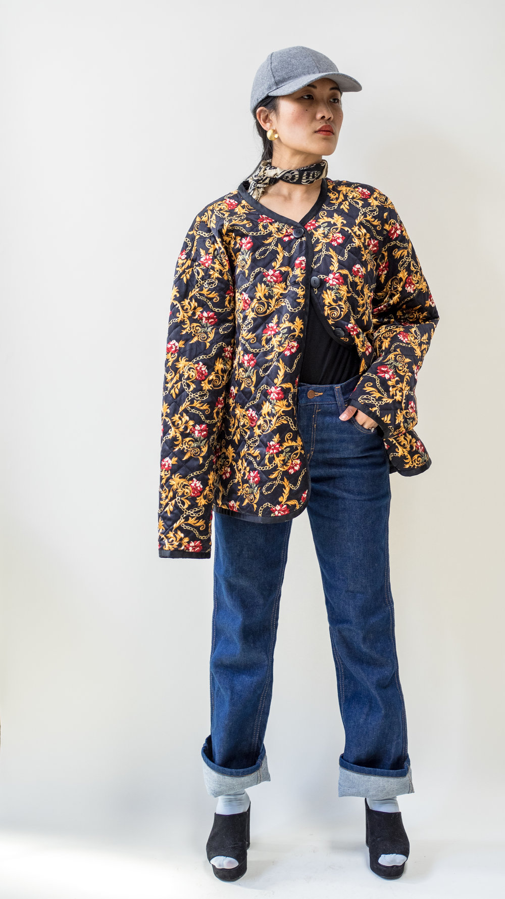 Quilted Floral Pattern Silk Jacket Reversible to Black as well Size 14 (Lrg, Womens) $55