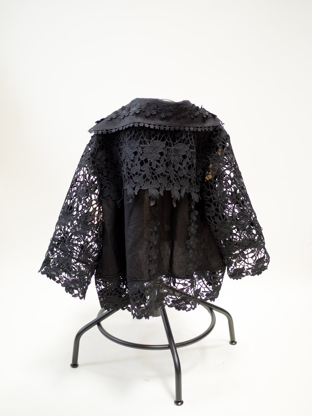 Black Lace Embroidered Jacket Size  S/M $60