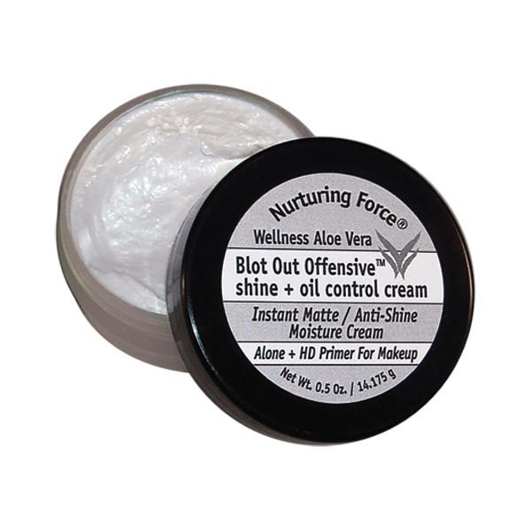 """Blot Out Offensive shine + oil control cream. Instant Matte / Anti-Shine Moisture Cream can be used alone or as an HD Primer under make-up. Controls oil secretion and maintains your make-up application for up to 14 hours."""